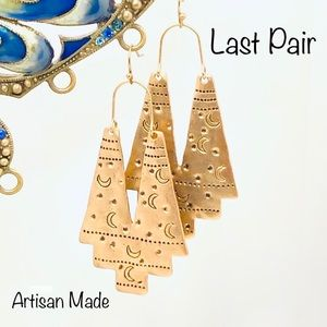 Earrings Moons Statement Dangles Wires Drops Gold